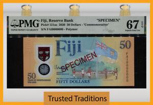 TT PK 121as 2020 FIJI 50 DOLLARS COMMEMORATIVE SPECIMEN PMG 67 EPQ SUPERB GEM!
