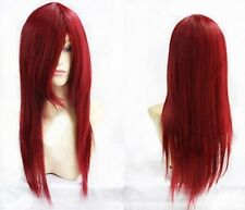 New Long Dark RED Cosplay Party Straight Wig Free shipping