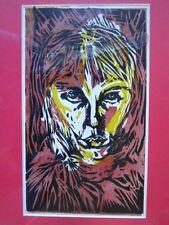 Fantastic Vintage silk screen print Metamorphic lion//human face, David Bowie ?