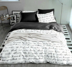 2020Letter printing bedding cover RU US size bedding quilt cover white and black