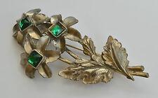ART DECO GREEN PASTE GLASS GOLD TONE POT METAL FLOWERS & LEAFS PIN BROOCH