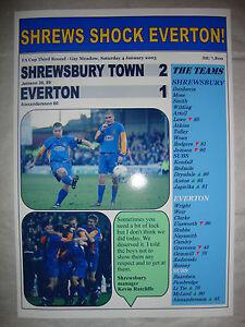 Shrewsbury Town 2 Everton 1 - 2003 FA Cup - souvenir print