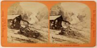 Ghiacciaio Da Rosenlaui Suisse Foto Lamy Stereo PL27L1n Vintage Albumina c1865