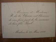 1892 Faire Part Naissance Paul de la Chaise MOULINS 03 Allier