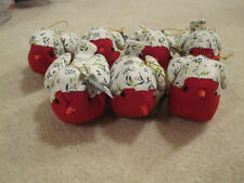 7 birds plush ornaments tree Christmas new with tags red white holly