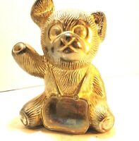 "Vintage Brass Teddy Bear Bank 5"" Tall"
