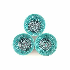 Hand Painted Ceramic Bowls(8 cm) - 3 Pieces Turkish Pottery