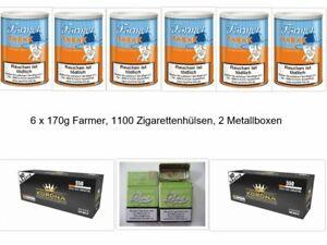 6 x 160g Farmer Tabak,1000 Hülsen, 2 Zigarettenboxen / kostenloser Versand