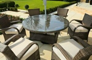 light weight 7 Piece Outdoor Dining Set with Washed Cushion