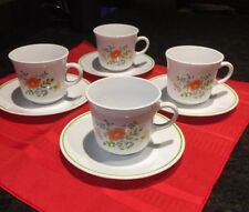 Set of 4  Corelle Spring Bouquet Coffee Cup and Saucer Set Floral Vintage