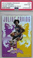 2012 Panini Crusade Julius Erving Prizm Purple & Gold 16/49 PSA 10 Gem Mint