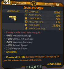 PC - Dastardly Maggie- New Annointed Consecutive Hit Damage  - Borderlands 3 BL3