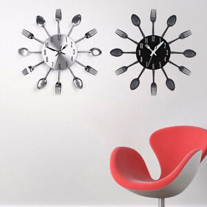 Modern Cutlery Fork Kitchen Tableware Wall Pointer Analog Clock Home Decoration