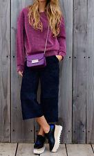 Pantalon jupe culotte large en cuir nubuck bleu ZARA T S