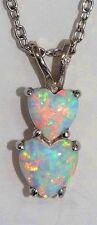 Opal Double Heart Pendant .925 Sterling Silver