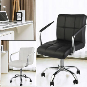 Adjustable Office Chair Back Support Swivel PU Leather Computer Desk Task Chairs