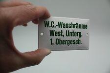W.C.-WASCHRÄUME WEST UNTERG.1.OBERGESCH. Hinweis-Schriftschild Emaille-D um 1950