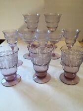 Rare Lot Central Glass Works Balda Etched Lavendar Goblets 1910-1930 EUC