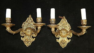 NEW Neoclassical Brass Electric Wall Candle Sconce Lamps Hollywood Regency MCM