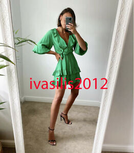 ZARA NEW WOMAN SHORT FRILLED JUMPSUIT DRESS PLAYSUIT GREEN XS-XL 9006/064