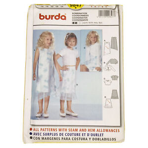 burda 9847 Dress Top Skirt Jacket Girls Size 5 6 7 8 9 Sewing Pattern BN UNCUT