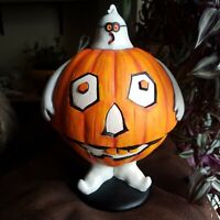 "Dept 56 11"" Halloween Ghost Jack O Lantern Flip Top Candy Dish Holiday Decor"