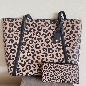 NWT kate spade cara graphic leopard large tote + darcy slim bifold wallet set