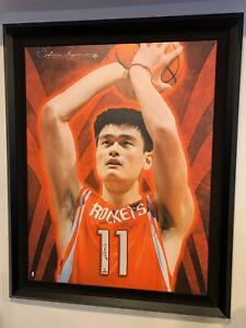 YAO MING UDA1/1 UPPER DECK AUTHENTICATED FRAMED CANVAS ARTISTIC IMPRESSIONS AUTO