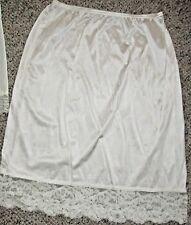 """Vassarette Size L Light Ivory Half Slip Wide Lace No Kick 28-36+"""" Waist 28"""" Long"""