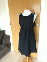 Ladies H&M Dress Maternity Pregnancy Size M 10 12 Black Beaded Detail Party