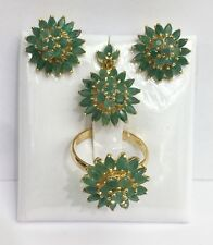 14k Solid Gold Cluster Flower Set Earrings Ring Pendant, Natural Emerald 9CT