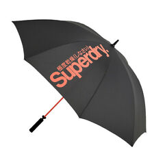 Superdry Neu Herren Golf Regenschirm-schwarz/orange, NEU mit Etikett