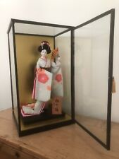 More details for vintage japanese geisha doll silk kimono wooden base glass case great condition