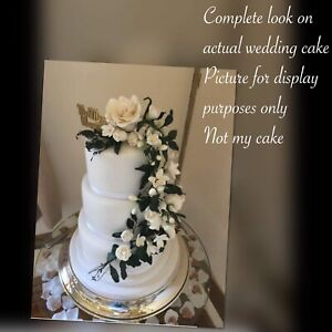 Ivory Flower Paste  Cake Topper/Decoration With Roses/freesia's