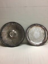 2 Medium Silver Plate Serving Trays Platter