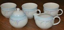 Noritaki RAINBOWS END Stoneware SET 3 Cups, 1 Sugar Bowl & Cover, and 1 Creamer