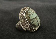Old Sterling Silver Ring with an Antique Egyptian Faience Scarab Amulet
