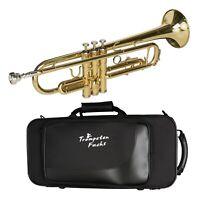 Trompete Bb - von Cascha mit Mundstück, Reinigungstuch und Koffer