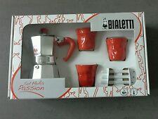 Bialetti Espressomaschine mit 3 Espressobecher und porzellan Rührstäbchen Neu