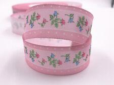 DIY 5 Yard 1'' 25mm Pink Flowers patterns bow Ribbon Bow Crafts Sewing Ribbon