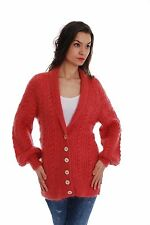 Coral Red Hand Made Knitted Mohair CARDIGAN SWEATER Thick Fuzzy Soft Jacket SSEu