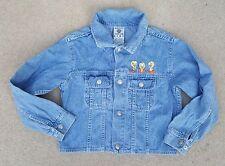 WARNER BROS Girls Button Up Blue Long Sleeve Denim Jacket Cotton Medium Childs