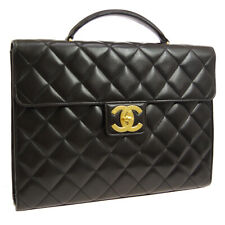 CHANEL Quilted CC Briefcase Business Hand Bag 5185841 Purse BK Leather AK37426