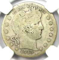 1913-S Barber Quarter 25C - Certified NGC Good Details - Rare Key Date Coin!