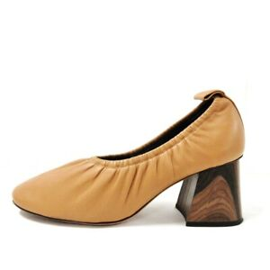 Auth CELINE Brown Leather Womens Pumps# 37.5 ( US # 7)