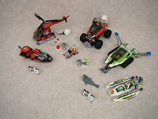 9 Piece LEGO World Racers GLUED Parts Set 8863 8897 Helicopter Snowmobile
