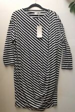 BELLAMBRA BNWT Black & White Jersey Stripe Draped Dress Size M Made In Italy