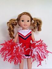 """Red Cheerleader Outfit Fits Wellie Wishers 14.5"""" American Girl Clothes"""