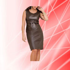 Women Dress Brown Real Leather Evening Cocktail Ladies Dress WD019