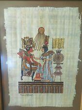 Egyptian Signed Art on Papyrus: Tutankhamun and Ankhesenamun Vintage